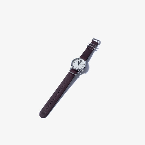 20mm Dark Brown & Black Leather Nato Watch Strap