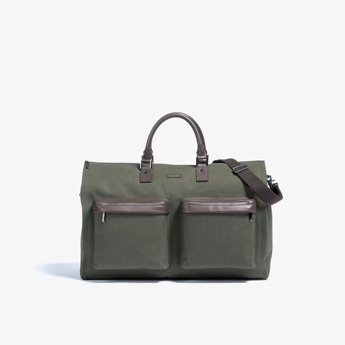 Men's Olive Twill Garment Weekender Bag