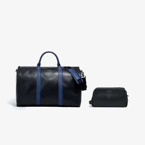 Men's Black and Blue Leather Garment Weekender + Dopp Kit