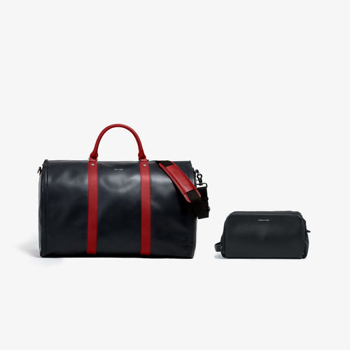 Men's Black and Red Leather Garment Weekender Bag + Dopp Kit
