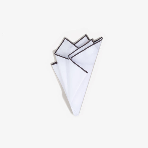 White Staple Pocket Square with Charcoal Trim
