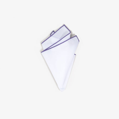 White Staple Pocket Square with Lavender Trim