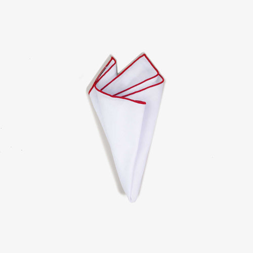 White Staple Pocket Square with Red Trim