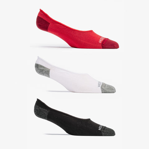 No Show Sock 3 Pack - Red, White, Black
