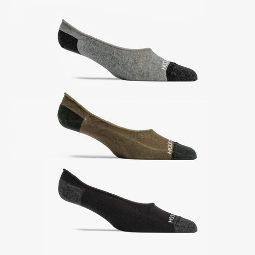 No Show Sock 3 Pack - Gray, Olive, Black