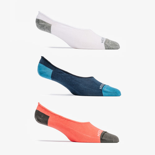No Show Sock 3 Pack - Navy, White, Coral