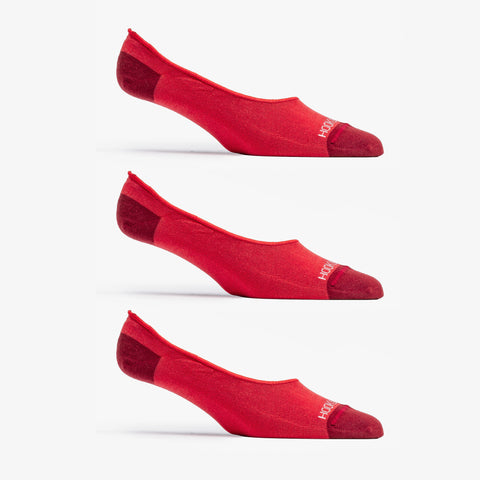 No Show Sock 3 Pack - Red