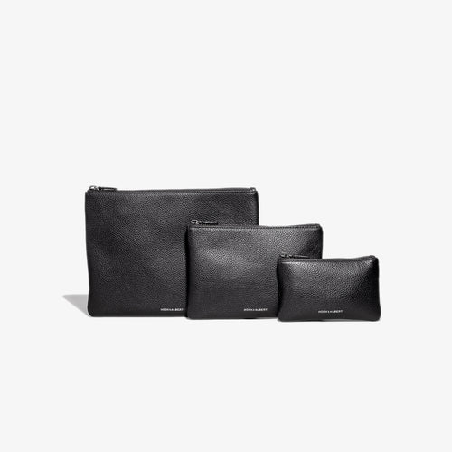 Black Leather Organization Pouch - Complete Set
