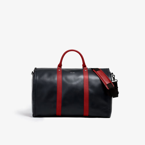 Men's Black and Red Garment Weekender Bag