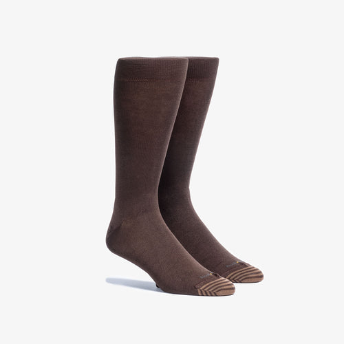 Solid Brown Mid-Calf Dress Sock
