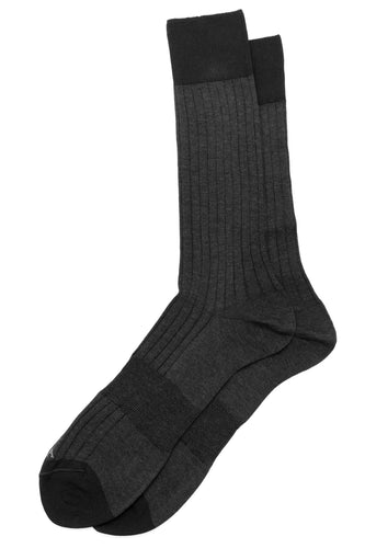 Charcoal Solid Ribbed Dress Socks