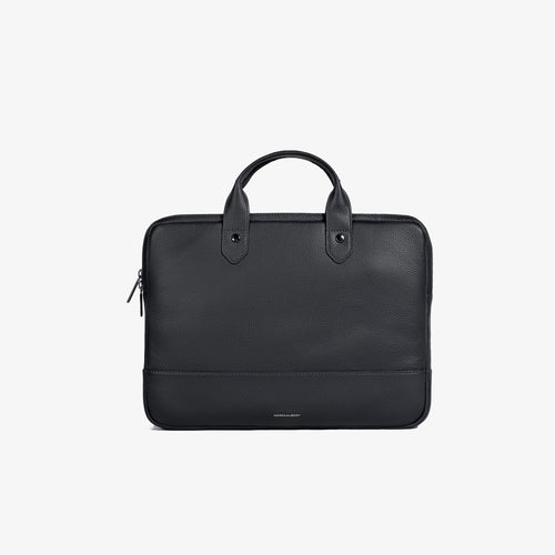 Black Pebbled Leather Slim Briefcase