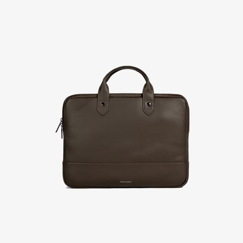 Brown Pebbled Leather Slim Briefcase