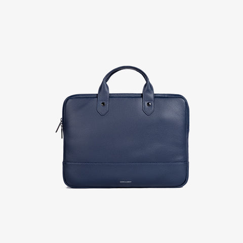Navy Pebbled Leather Slim Briefcase
