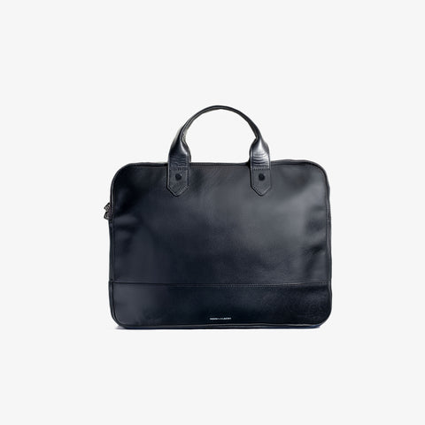 Black Smooth Leather Slim Briefcase