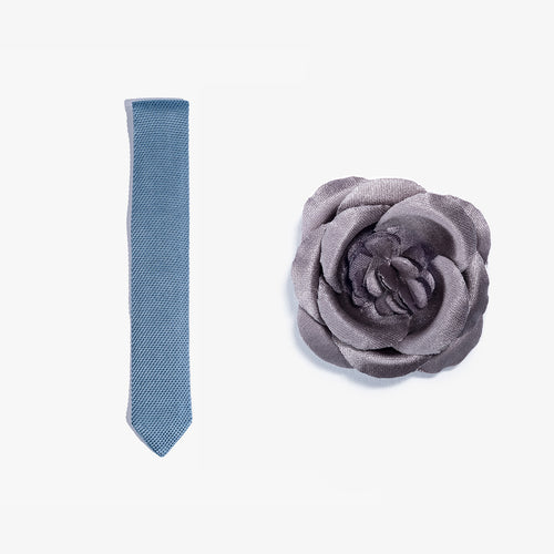 Lapel Flower + Knit Tie Set - Light Blue