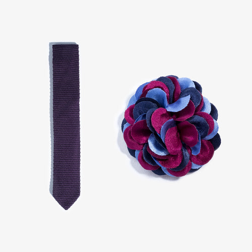 Lapel Flower + Knit Tie Set - Purple