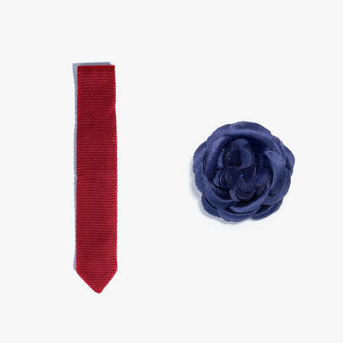 Lapel Flower + Knit Tie Set - Red