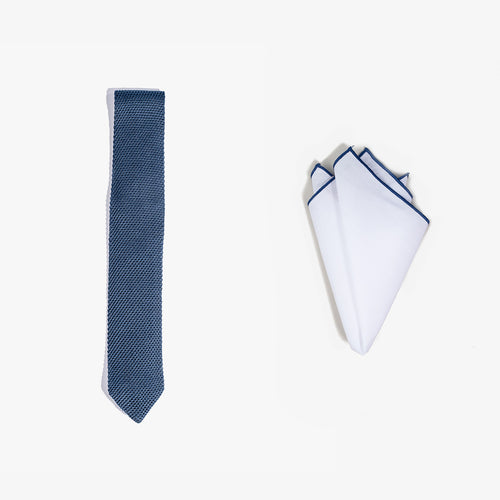 Pocket Square + Knit Tie Set - Blue