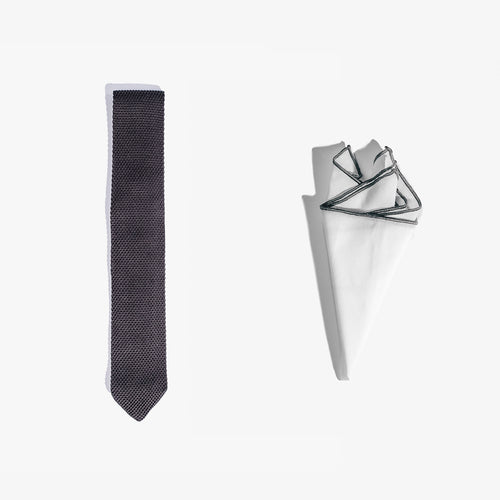 Pocket Square + Knit Tie Set - Gray