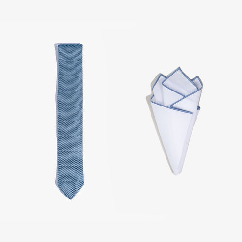Pocket Square + Knit Tie Set - Light Blue