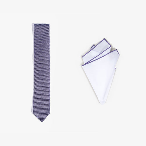 Pocket Square + Knit Tie Set - Purple
