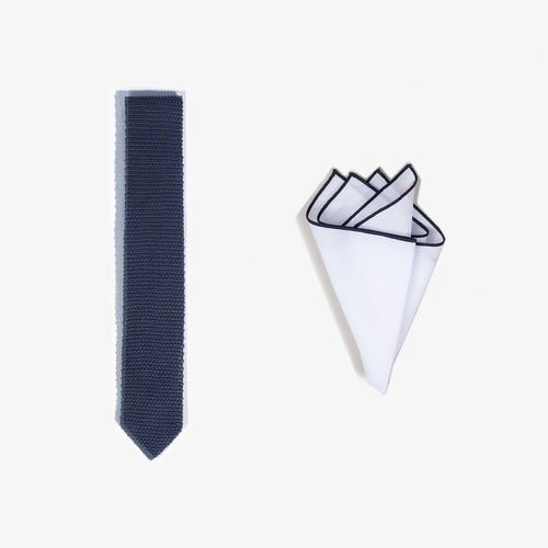 Pocket Square + Knit Tie Set - Navy