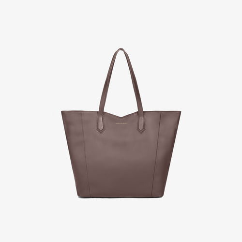 Taupe Leather Zippered Tote Bag