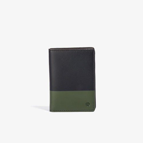 Black Leather Vertical Bifold with Olive Color Dip