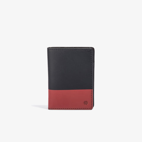 Black Leather Vertical Bifold with Red Color Dip