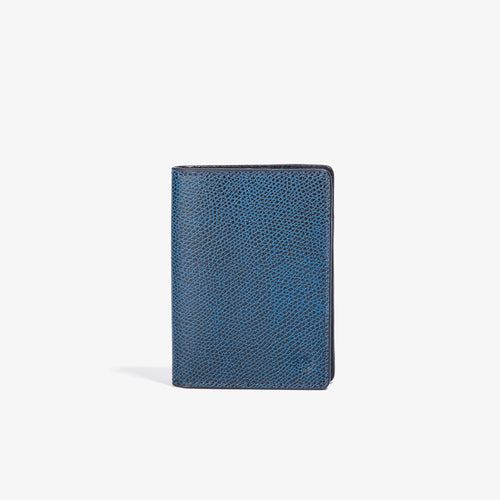 Blue Leather Vertical Bifold Wallet