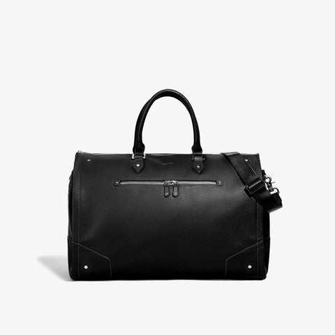 Women's Black Leather with Gunmetal Hardware Weekender Bag