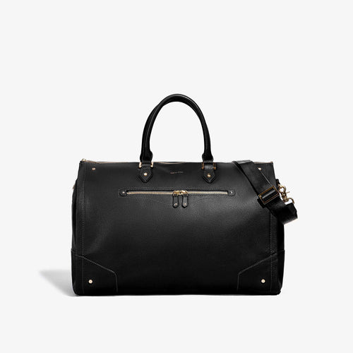 Women's Black Leather with Gold Hardware Weekender Bag