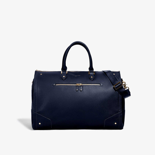 Women's Navy Leather Garment Weekender Bag