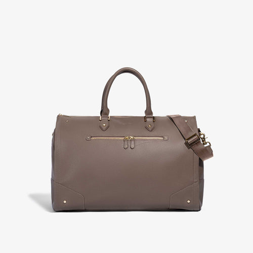 Women's Taupe Leather with Gold Hardware Weekender Bag