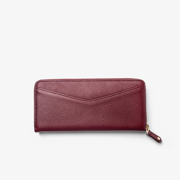Women's Bordeaux Leather Zip-Around Wallet
