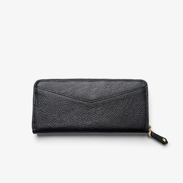 Women's Black Leather Zip-Around Wallet