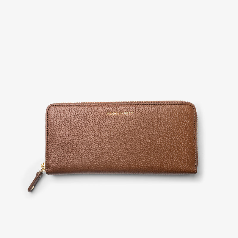 Women's Caramel Leather Zip-Around Wallet