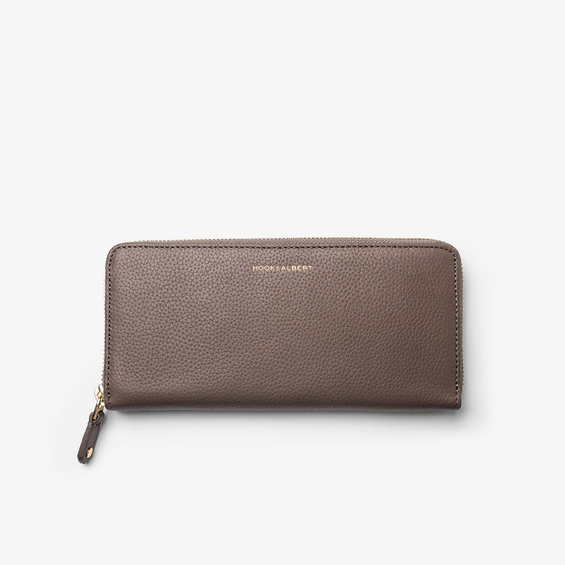 Women's Taupe Leather Zip-Around Wallet