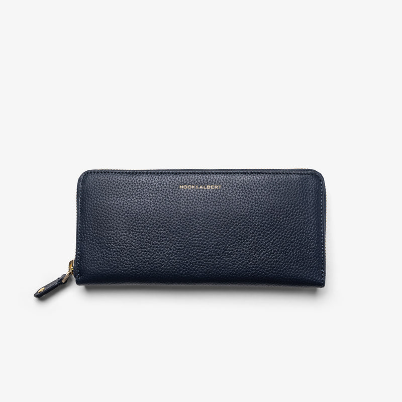Women's Navy Leather Zip-Around Wallet