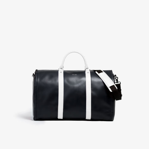 Men's Black and White Garment Weekender Bag