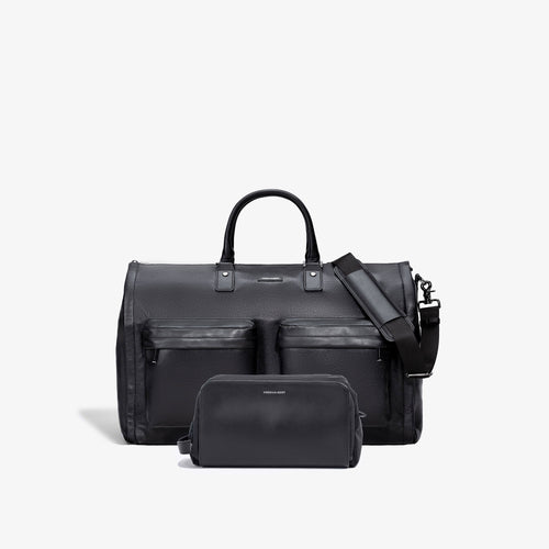 Men's Black Leather Garment Weekender + Dopp Kit