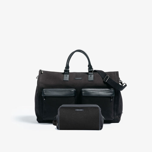 Men's Black Garment Weekender + Dopp Kit