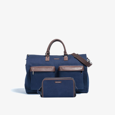 Men's Navy Garment Weekender + Dopp Kit