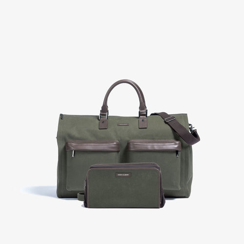 Men's Olive Garment Weekender + Dopp Kit