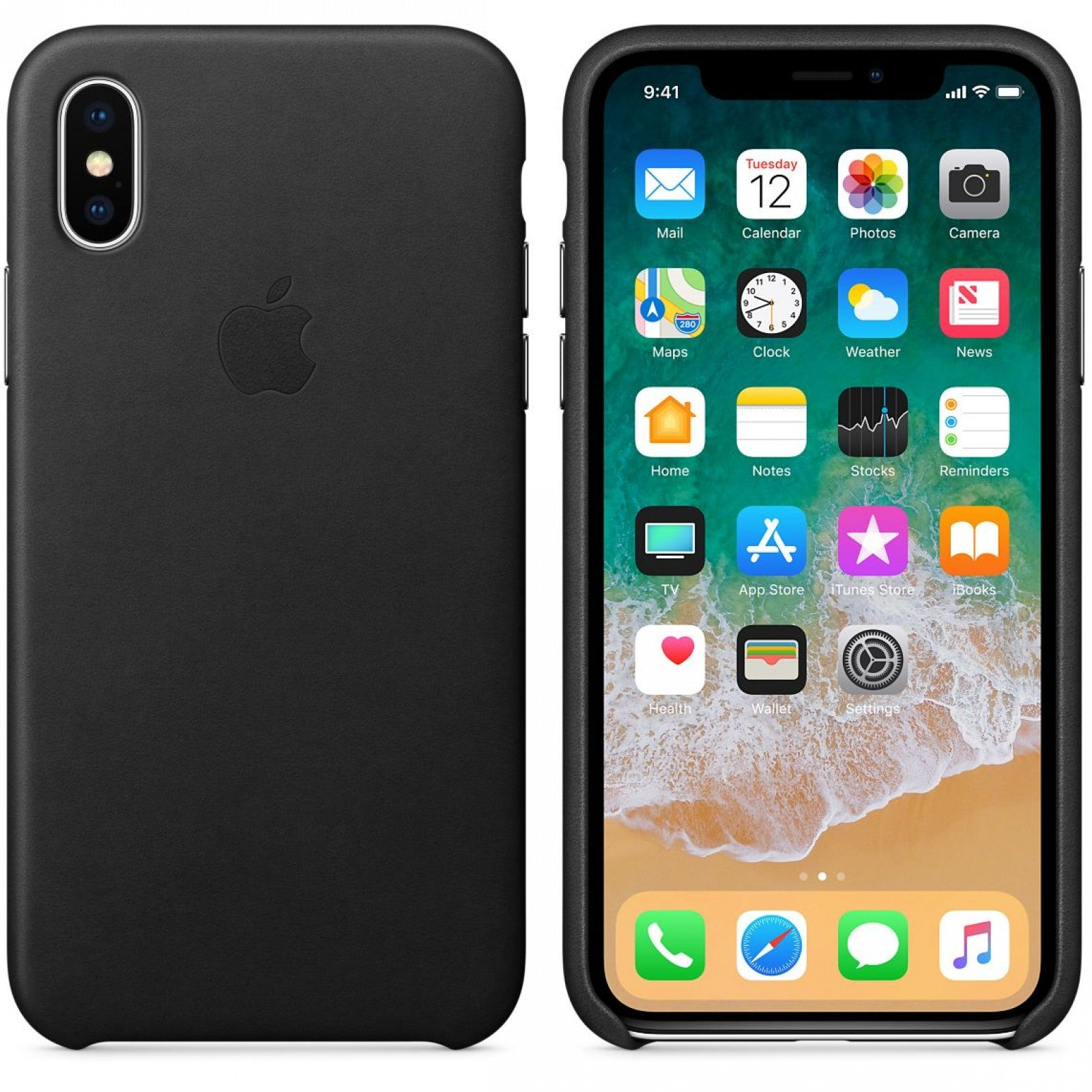 new arrival 85a8c 75fd9 iPhone Xs Max Leather Case- Black