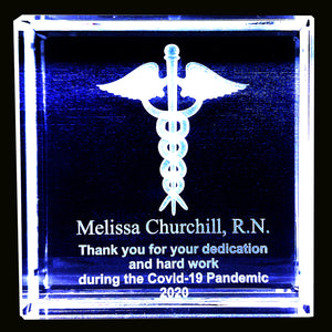 "Nurse Appreciation 3x3 or 5""x5"" Optical Crystal with 3D Caduceus or Logo  Item# CV001"