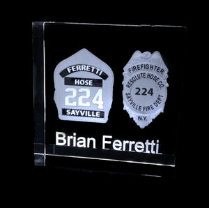"YOUR LOGO INSIDE A HIGHLY POLISHED SQUARE OPTICAL CRYSTAL 3""x3""x1.5"""