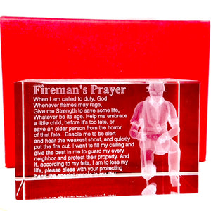Firemans Prayer with 3d Firefigher in a  Rectangualr 3x2 Inch Crystal