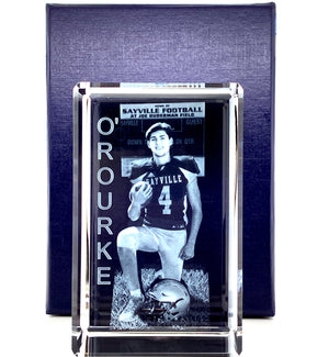 "LARGE RECTANGULAR CRYSTAL  WITH 3D IMAGE- (PORTRAIT 3""X5""X3"")"